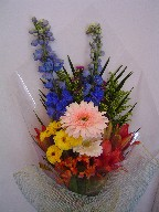 Delphinium, gerbera, lillies, alstroemeria, solidago, monte casino, and pompoms