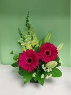 Gerbera, snapdragon, asiatic lillies, and statice