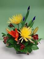 Iris, spider mums, asiatic lily, alstroemeria and waxflowers
