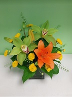 Cymbidium orchids, asiatic lily, pompoms, and thlaspia