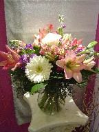 Gerbera, stock, lillies, roses, and alstroemeria