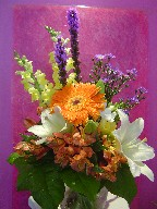 Gerbera, liatris, alstroemeria, lillies, freesia, snapdragon, and monte casino blue