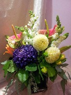 Anthurium, commercial mum, snapdragon, dahlia, asiatic lillies, and eucalyptus