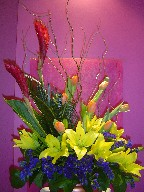 Ginger, curly willow, tulips, sago, statice, and lillies