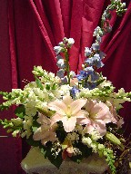 Delphinium, snapdragon, lillies, genest, and daisies