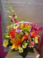 Roses, lillies, dendrobium orchids, daisies, fresia, alstroemeria, solidago, and waxflowers