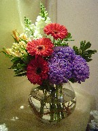 Commercial mum, gerbera, snapdragon, alstroemeria, and variegated pitt
