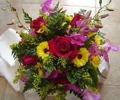 Forever young roses, hot pink orchids (dendrobium), yellow button daisies and solidago