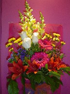 Roses, snapdragon, gerbera, lillies, daisies, and monte casino blue