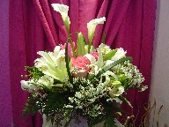 Calla lillies, lillies, roses, alstroemeria, thryptomene, Queen Anne's lace, and monkey grass