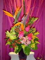 Bird of paradise, cymbidium orchids, coffee beans, roses, alstroemeria, solidago, and curly willow